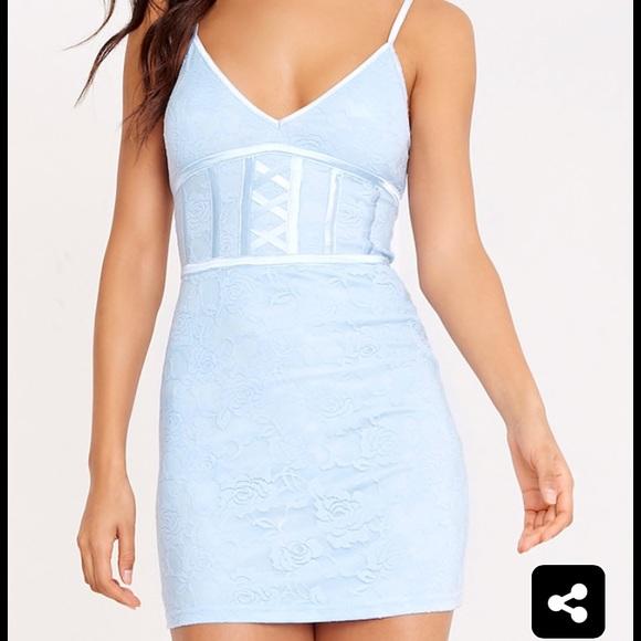 Dusty blue bodycon dress